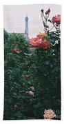Pink Roses And The Eiffel Tower Bath Towel