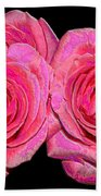 Pink Roses With Enameled Effects Bath Towel