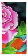 Pink Roses With Orange Hand Towel