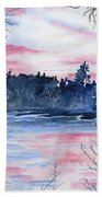 Pink Sky Reflections Bath Towel