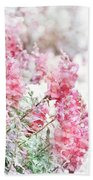 Pink Snapdragons Watercolor Bath Towel