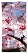 Pink Spring Blossoms Art Print Blue Sky Landscape Baslee Troutman Bath Towel