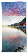 Pink Sunset Over A Lagoon In Norway Bath Towel