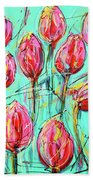 Pink Tulip, Turquoise Hand Towel