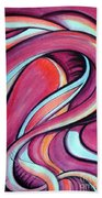 Pink Wave Of Energy. Abstract Vision Bath Towel