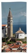 Piran Slovenia With St George's Cathedral Belfry And Baptistery  Bath Towel