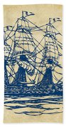 Pirate Ship Artwork - Vintage Bath Towel