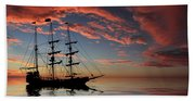 Pirate Ship At Sunset Bath Towel