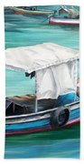Pirogue Fishing Boat  Bath Towel