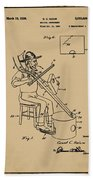 Pitch Fork Fiddle And Drum Patent 1936 - Sepia Bath Towel