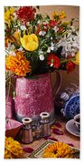 Pitcher Of Flowers Still Life Hand Towel