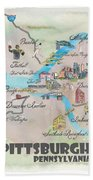 Pittsburgh Pennsylvania Fine Art Print Retro Vintage Map With Touristic Highlights Bath Towel