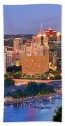 Pittsburgh Pennsylvania Skyline At Dusk Sunset Panorama Bath Towel
