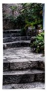 Plants Grow In The Uneven Stairs Climbing Towards The Tower Bath Towel