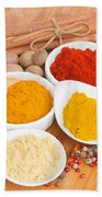 Plates Of Spices  Bath Towel