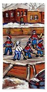 Playoff Time At The Local Hockey Rink Montreal Winter Scenes Paintings Best Canadian Art C Spandau Bath Towel