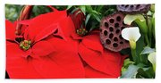 Poinsettia Basket For Christmas Hand Towel