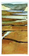 Point Reyes, Ca, Drakes Beach Estuary, Midday Tide, Watercolor Plein Air Hand Towel