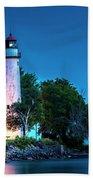 Pointe Aux Barques Lighthouse At Dawn Bath Towel