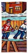 Outdoor Hockey Rink Painting  Devils Vs Rangers Sticks And Jerseys Row House In Winter C Spandau Bath Towel