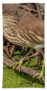Pond Heron With Fish  Bath Towel
