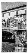 Ponte Vecchio Florence Sketch Bath Towel