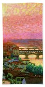 Ponte Vecchio Sunset Florence Bath Towel
