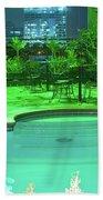 Pool With City Lights Bath Towel