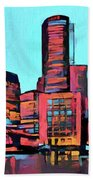Pop Art Boston Skyline Bath Towel