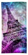 Pop Art Eiffel Tower Hand Towel