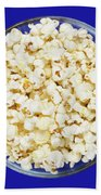 Popcorn In Glass Bowl On Blue Background Bath Towel