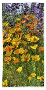 Poppies And Lupines Bath Towel