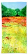 Poppies In The Almond Grove Bath Towel
