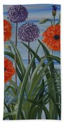 Poppies, Iris, Giant Alium Bath Towel