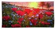 Poppy Fields At Dawn Hand Towel
