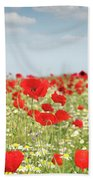 Poppy Flowers Field Nature Spring Scene Bath Towel