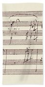 Portion Of The Manuscript Of Beethoven's Sonata In A, Opus 101 Bath Towel