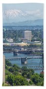 Portland Cityscape With Mount Saint Helens View Bath Towel