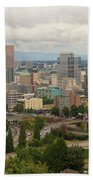 Portland Oregon Downtown Cityscape By Freeway Hand Towel