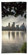 Portland Skyline Under The Trees At Sunset Hand Towel
