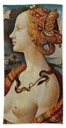 Portrait De Femme Dit De Simonetta Vespucci Bath Towel