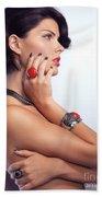 Portrait Of A Beautiful Woman Wearing Jewellery Hand Towel