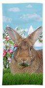 Portrait Of A Gregarious Brown Bunny Bath Towel