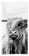 Portrait Of A Highland Cow Bath Towel