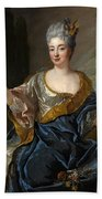Portrait Of A Lady Three-quarter-length Holding Flowers Bath Towel
