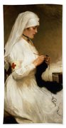 Portrait Of A Nurse From The Red Cross Bath Towel