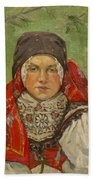 Portrait Of A Woman In A Red Scarf Bath Towel
