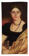 Portrait Of Mrs Devauay Bath Towel