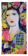 Portrait Of Woman With Flowers Bath Towel