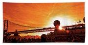 Sunset Under The 25 April Bridge Lisbon Bath Towel